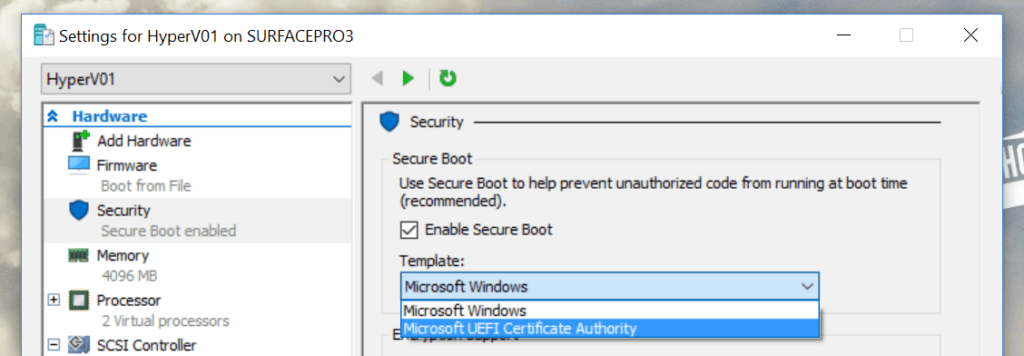 Hyper-V Secure Boot Linux