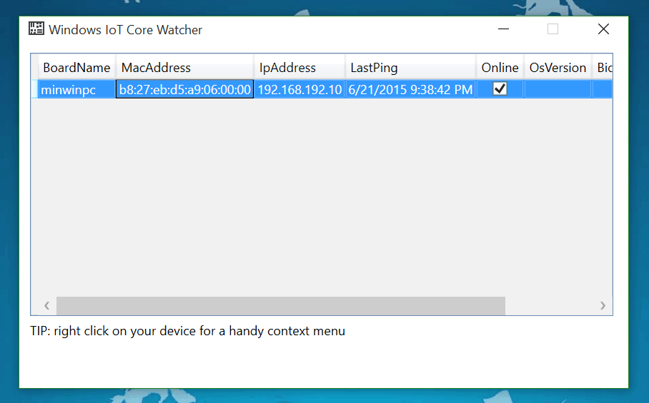 Windows 10 IoT Core Watcher