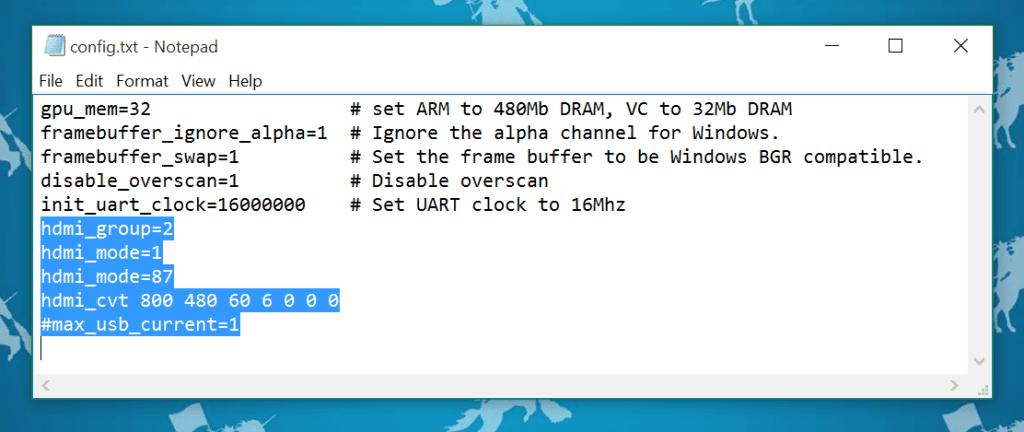 Windows 10 IoT Display Config TXT