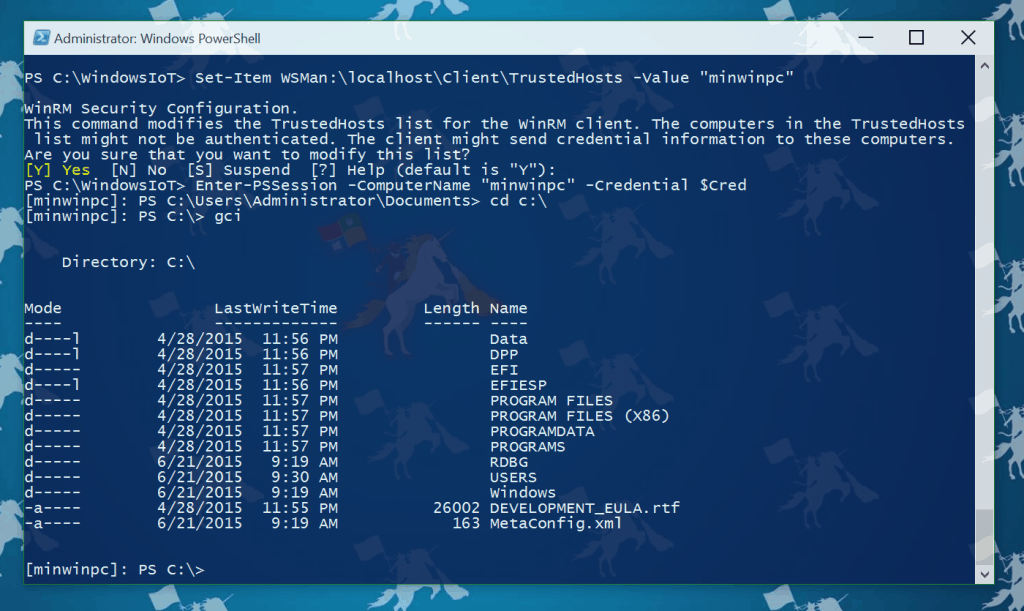 Windows 10 IoT PowerShell Remoting minwinpc