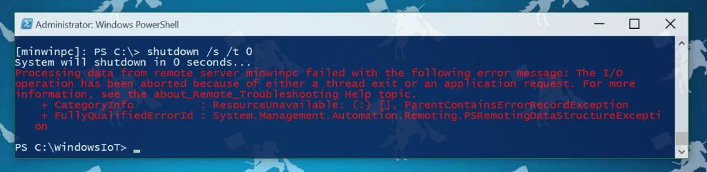 Windows 10 IoT PowerShell Shutdown