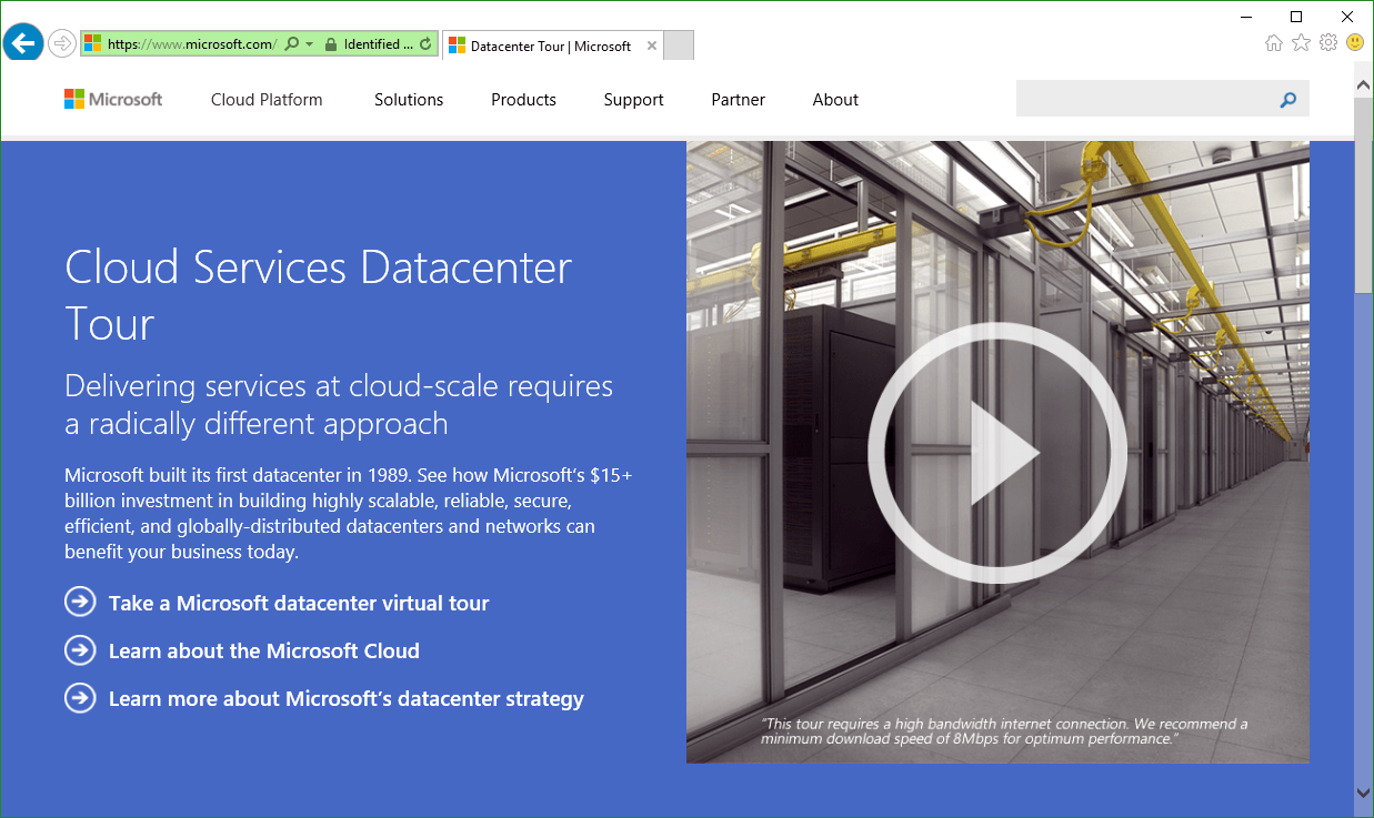 Microsoft Cloud Services Datcenter Tour
