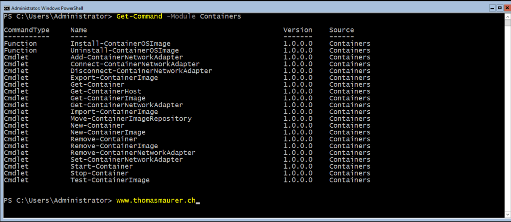 Containers PowerShell Module