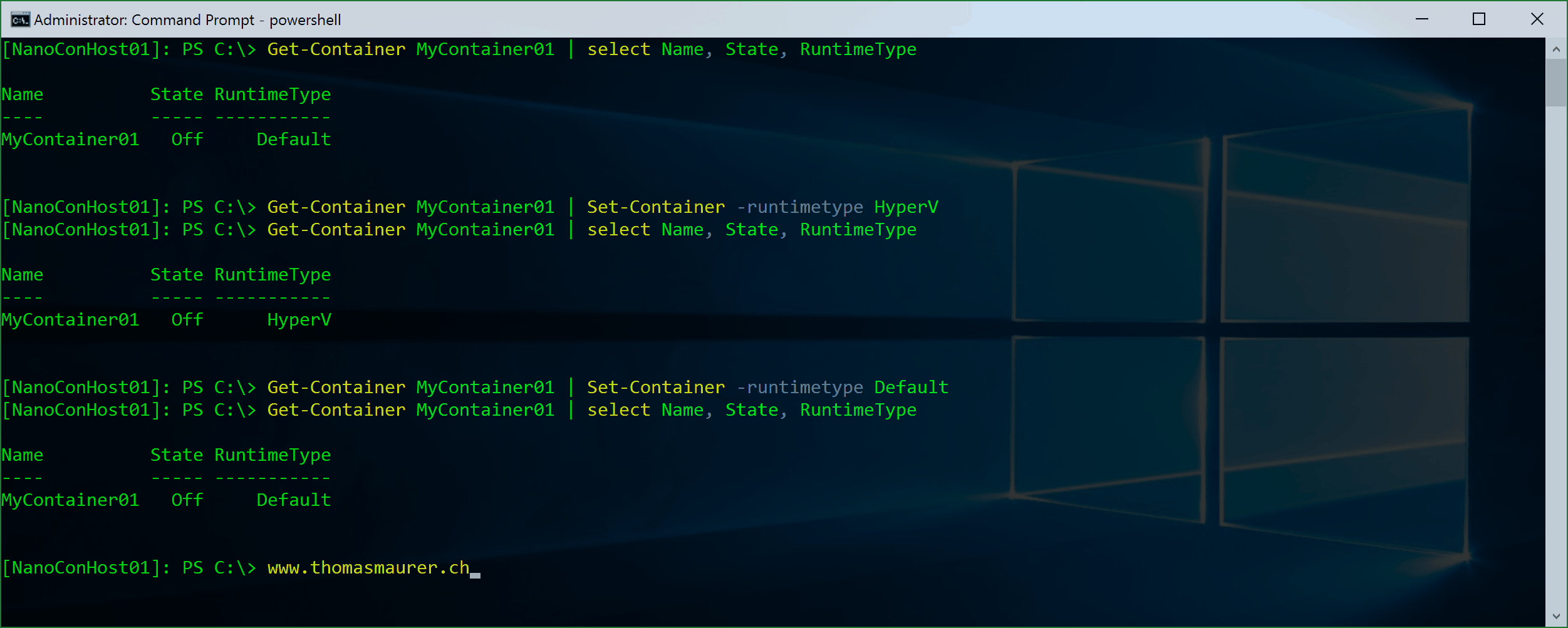 Switch Windows Container to Hyper-V Container