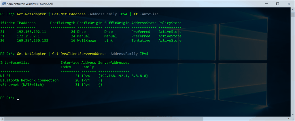 PowerShell Networking Get-NetIPAddress