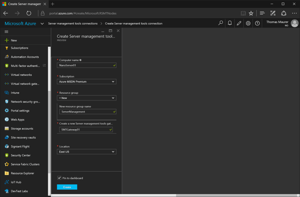 Microsoft Azure Server Management Tools New Connection