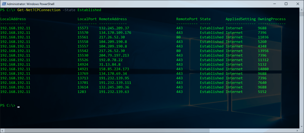 PowerShell Networking Netstat