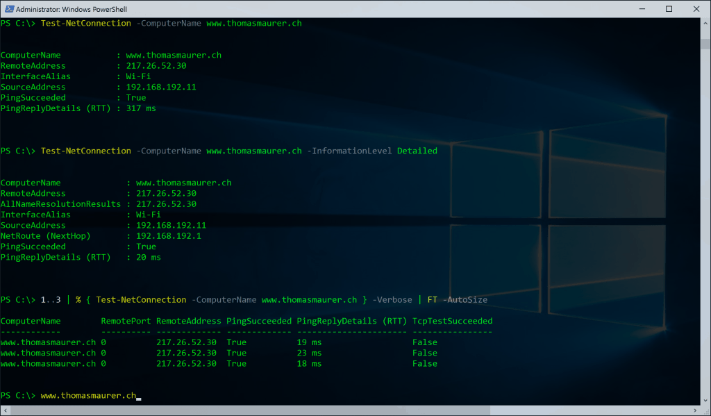 PowerShell Networking Test-NetConnection Ping