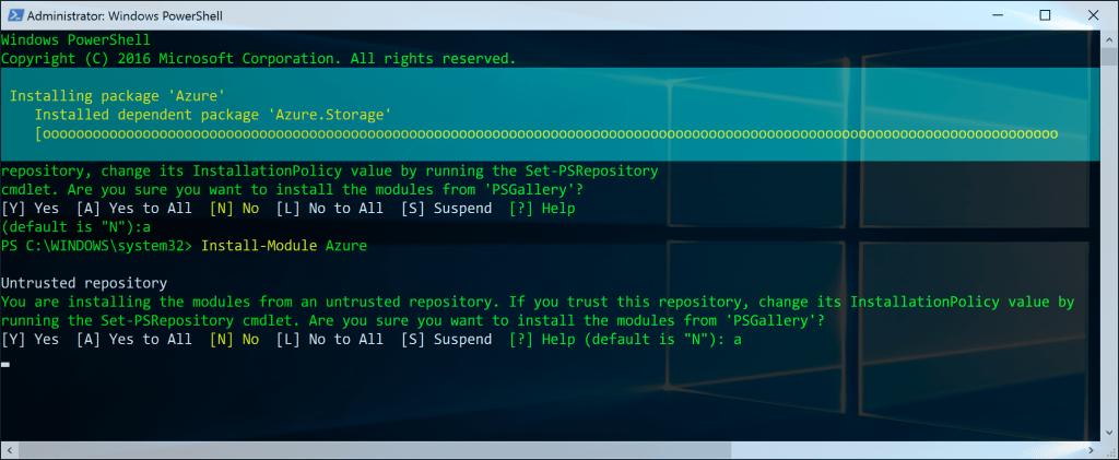 Azure PowerShell Installing
