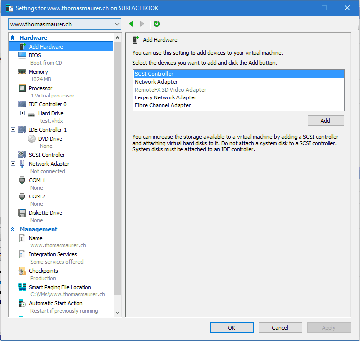 Hyper-V VM Settings Windows 10 Build 14361
