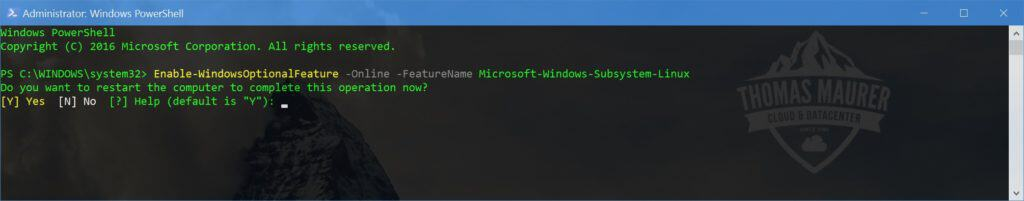 Enable Windows Subsystem for Linux using PowerShell