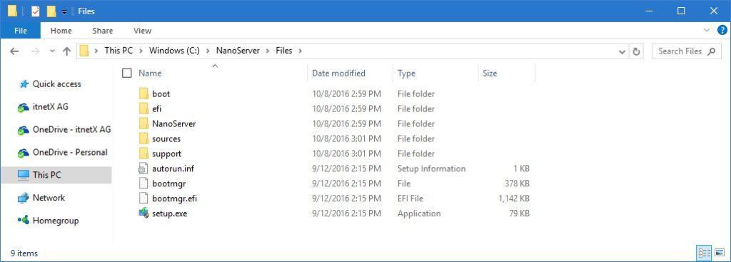 Nano Server ISO Folder