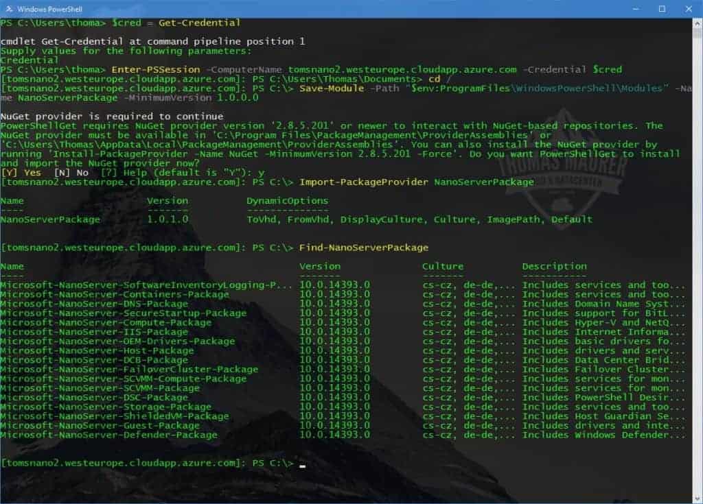 Azure Nano Server PowerShell Package Management
