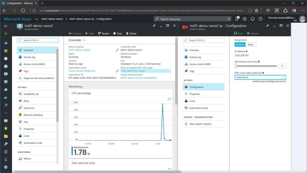 Nano Server on Azure Public DNS Name