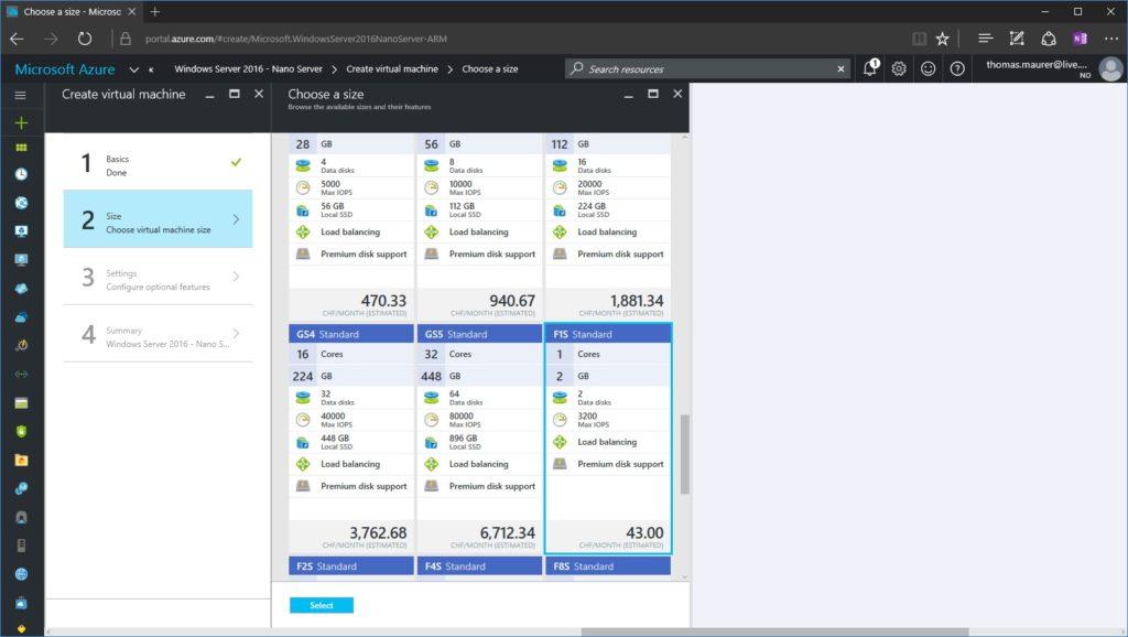 Nano Server on Azure VM Size
