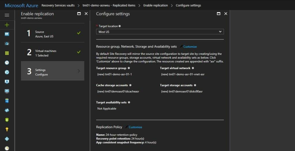 Azure ASR Configuration Settings