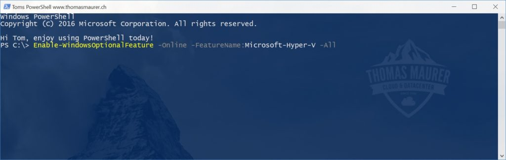 Install Hyper-V on Windows 10 using PowerShell