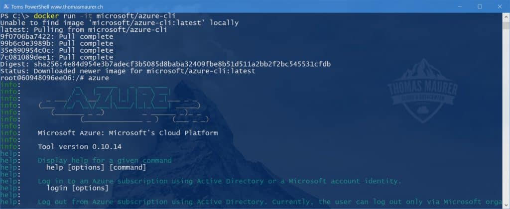Docker Azure CLI on Linux on Windows 10 Container