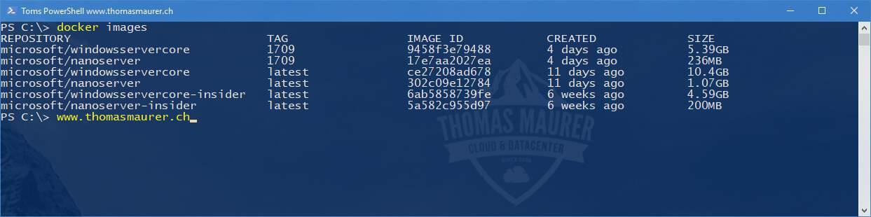 Docker Windows Server Container Images