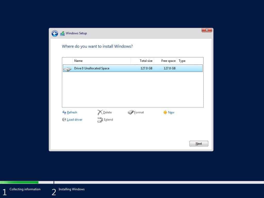 Windows Server 1709 Choose Disk