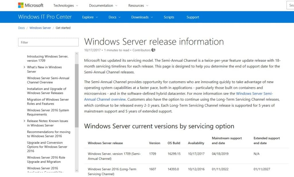 Windows Server current versions by servicing Overview