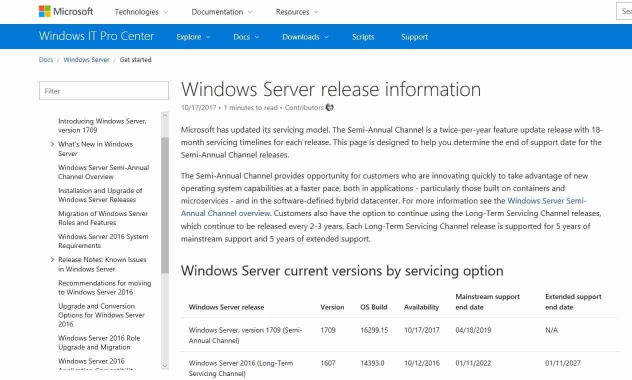 Windows Server release information - Windows Server Semi-Annual