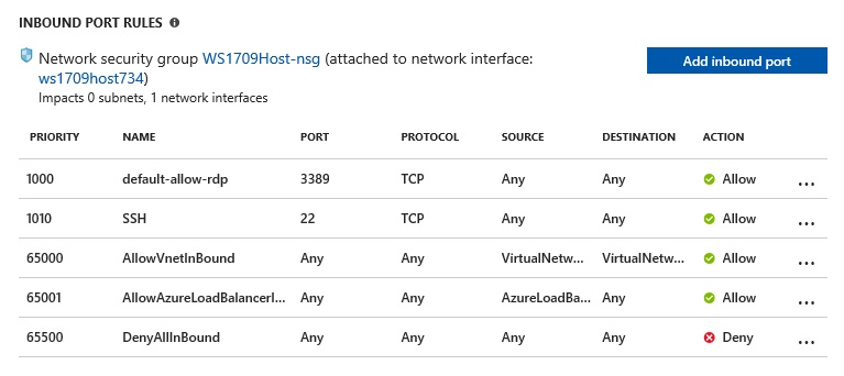 Azure Network Security Group SSH