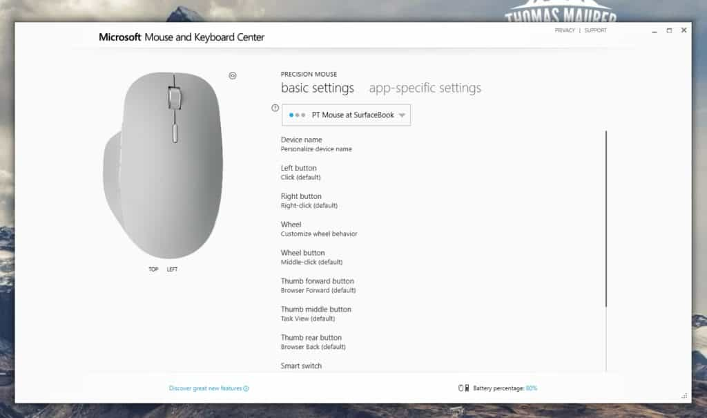Microsoft Surface Percision Mouse Settings