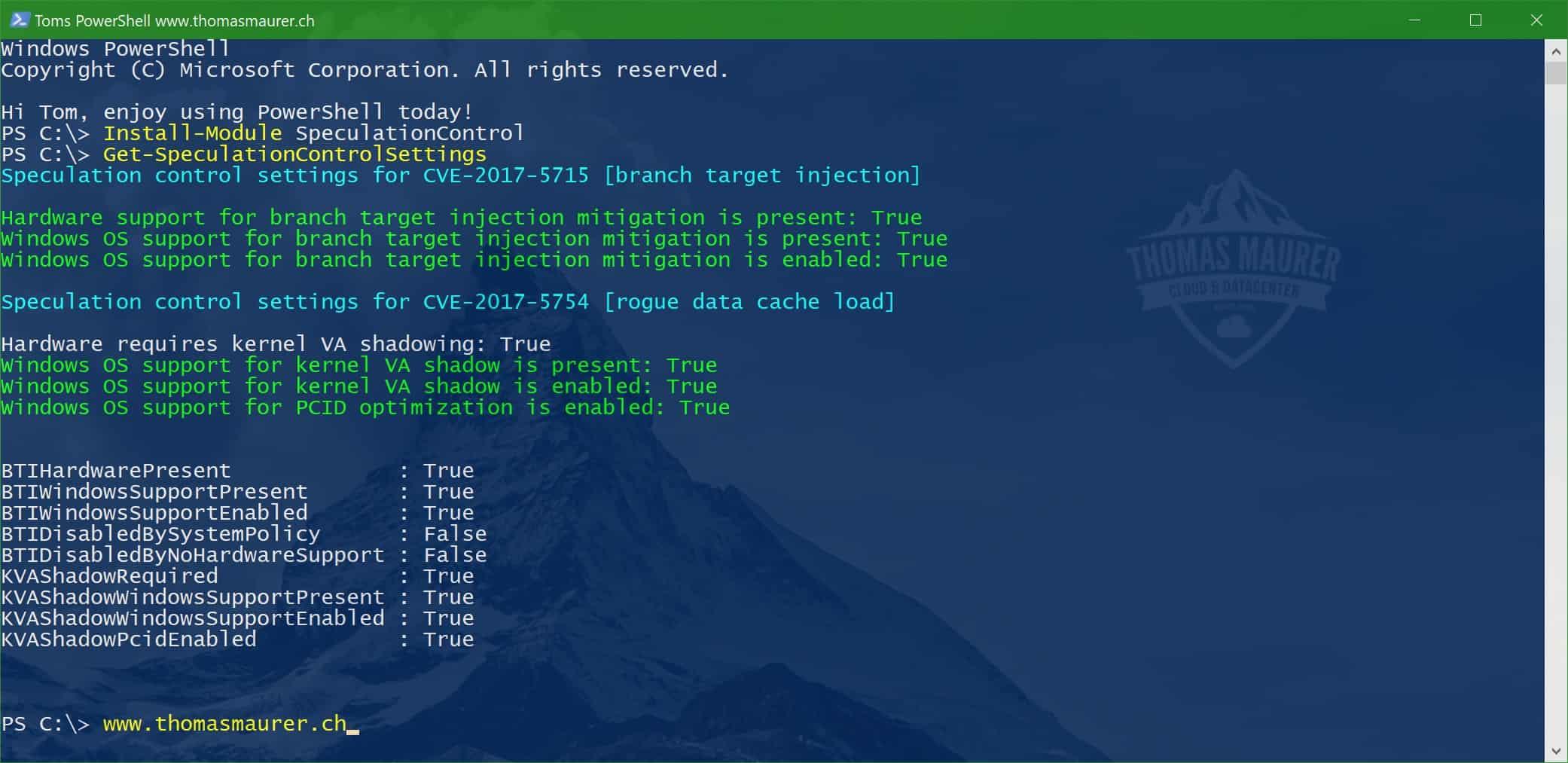 Windows SpeculationControl PowerShell