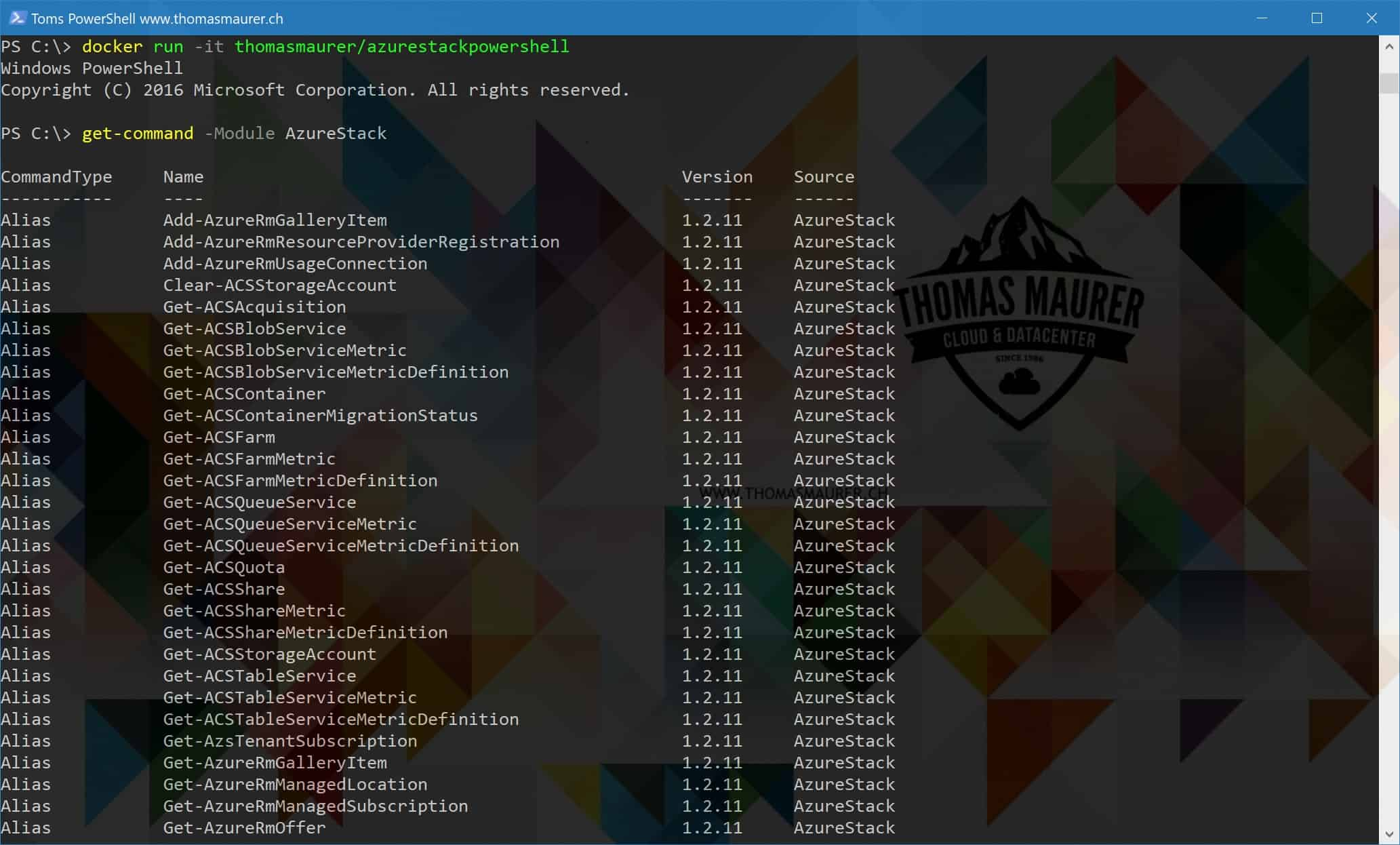 Run Azure Stack PowerShell and Azure Stack Tools in a Docker