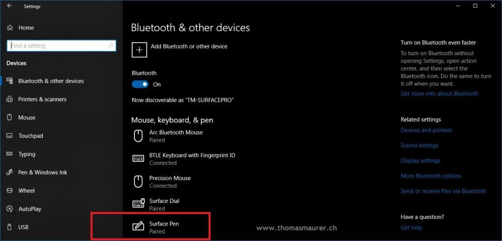 Surface Pen Bluetooth