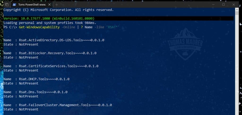 Install Windows 10 RSAT using PowerShell