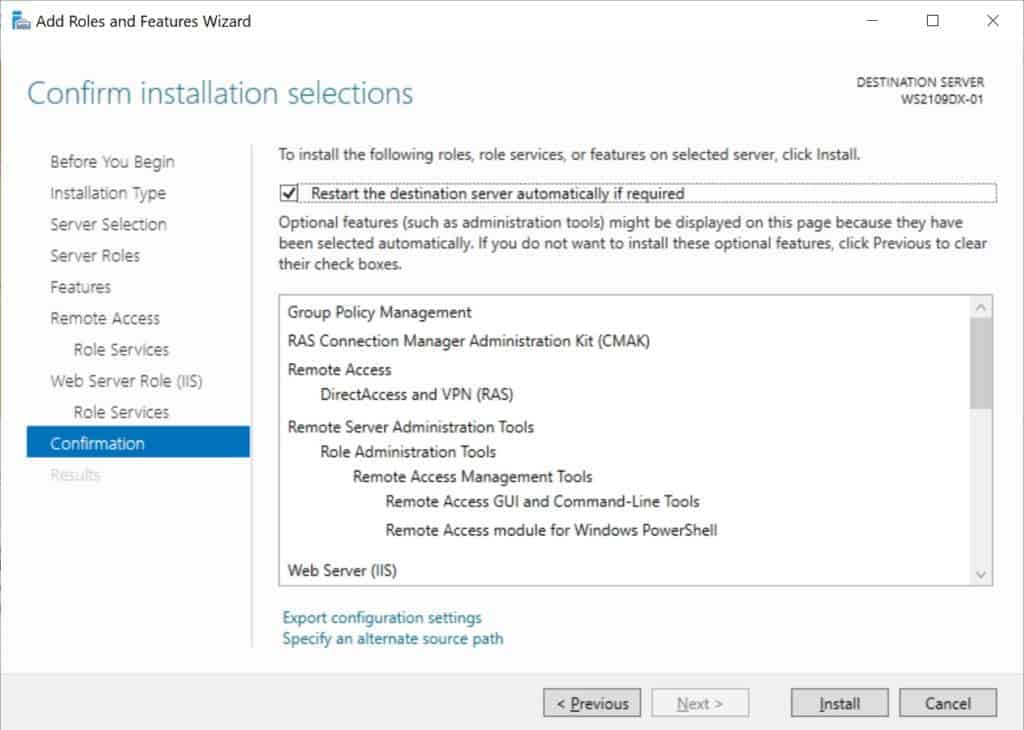 Install the Remote Access Feature on Windows Server 2019