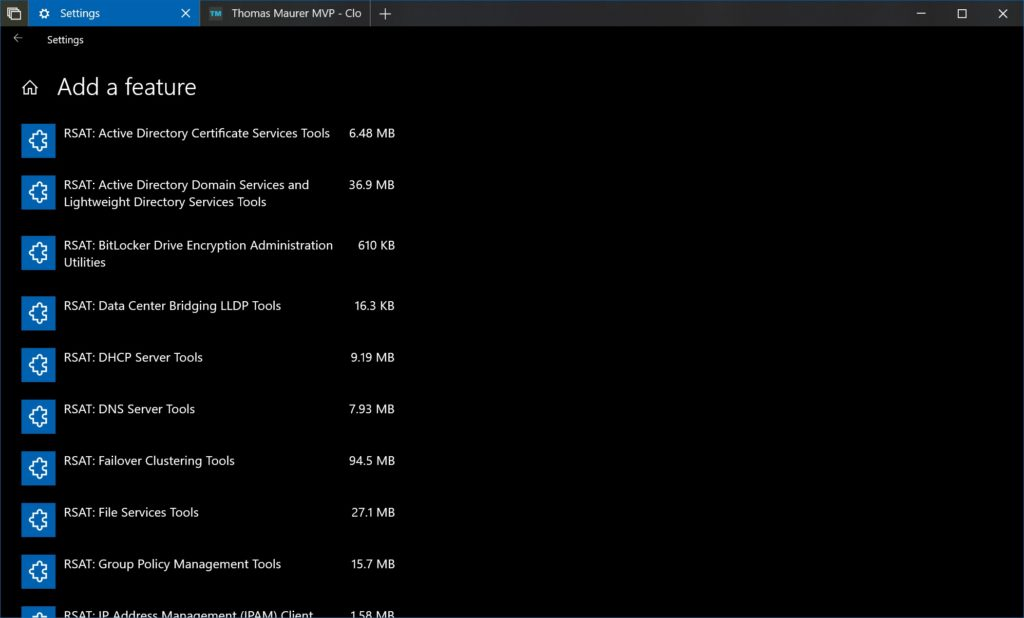 Windows 10 RSAT Feature on Demand