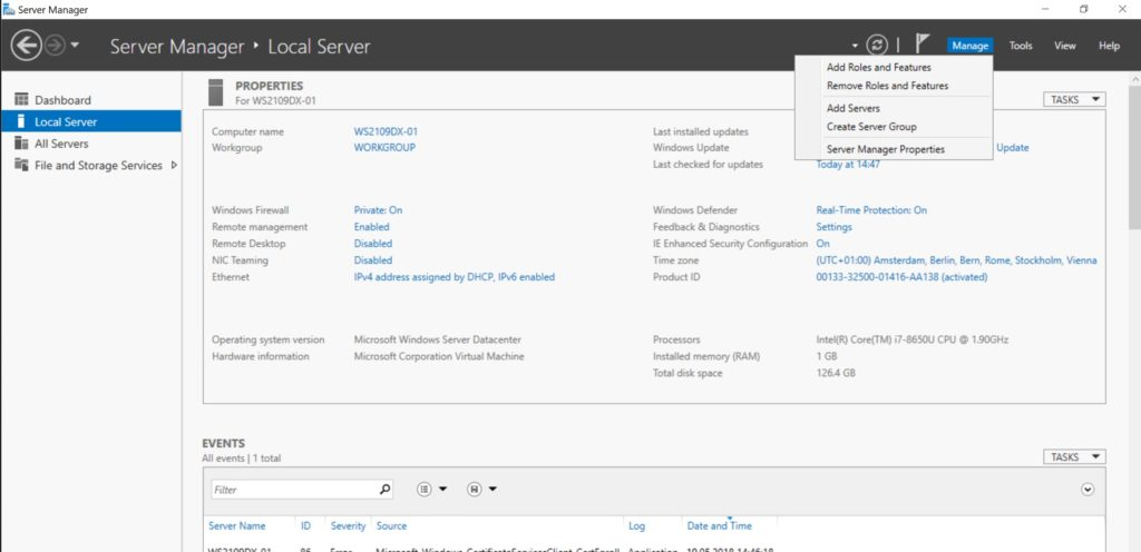 Windows Server Add Roles and Features