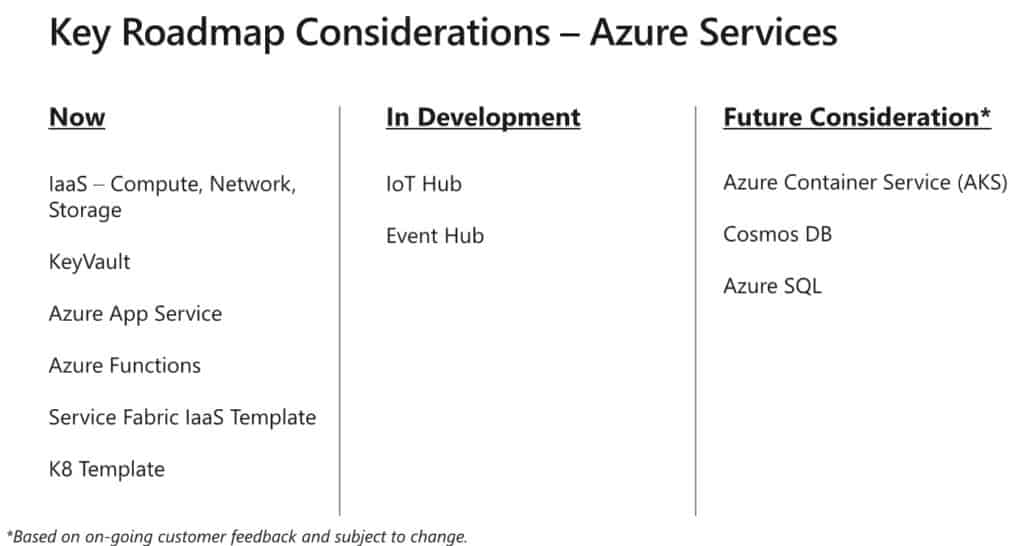Azure Stack Key Roadmap Azure Services