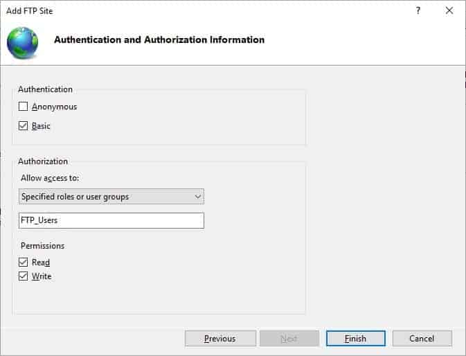 FTP Authentication and Authorization Information
