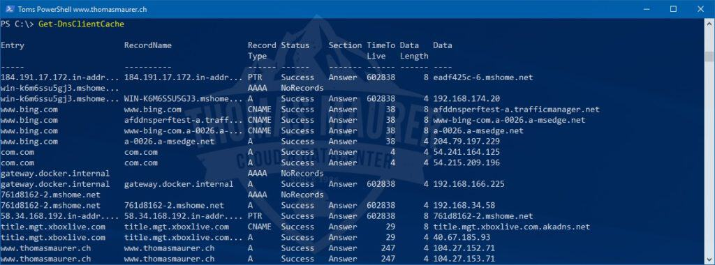 Flush DNS Cache with PowerShell - Thomas Maurer