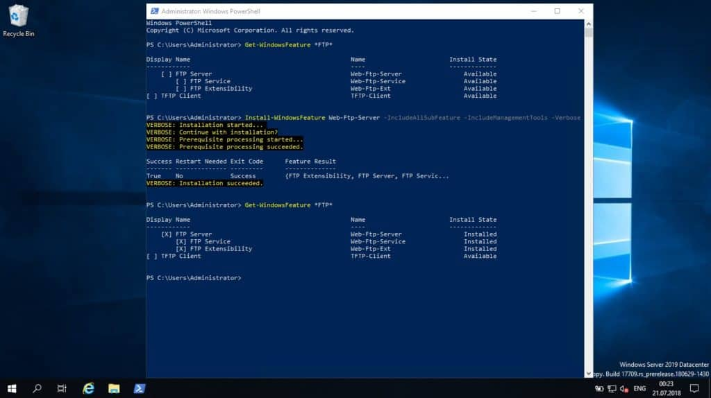 Install FTP on Windows Server using PowerShell