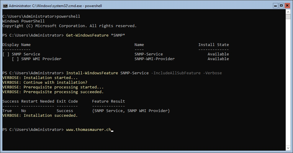 Install SNMP Feature on Windows Server Core