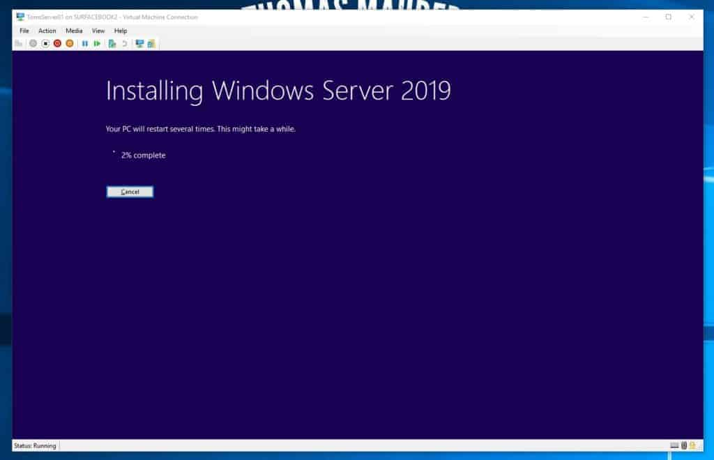 Installing Windows Server 2019