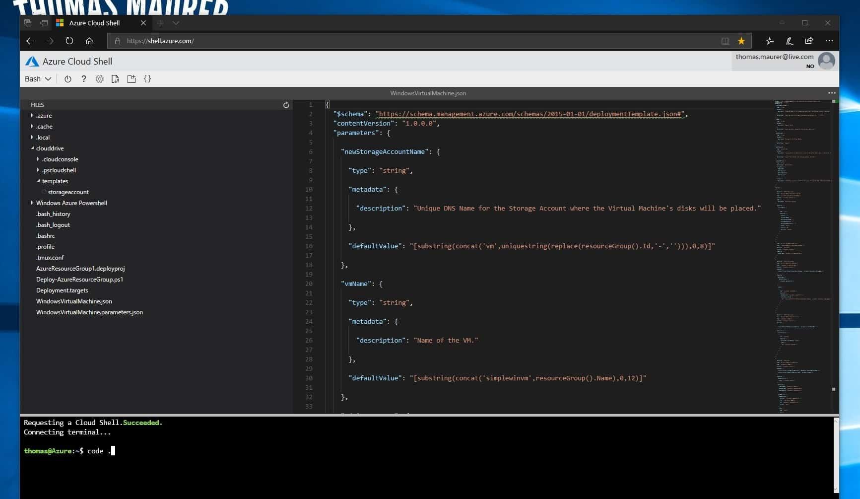 VSCode in Azure Cloud Shell