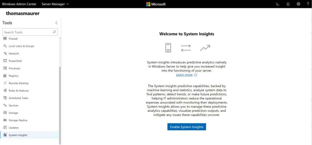 Windows Admin Center Windows Server System Insights