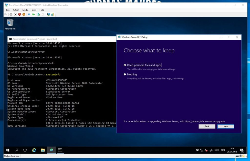 Windows Server 2016 upgrade to Windows Server 2019