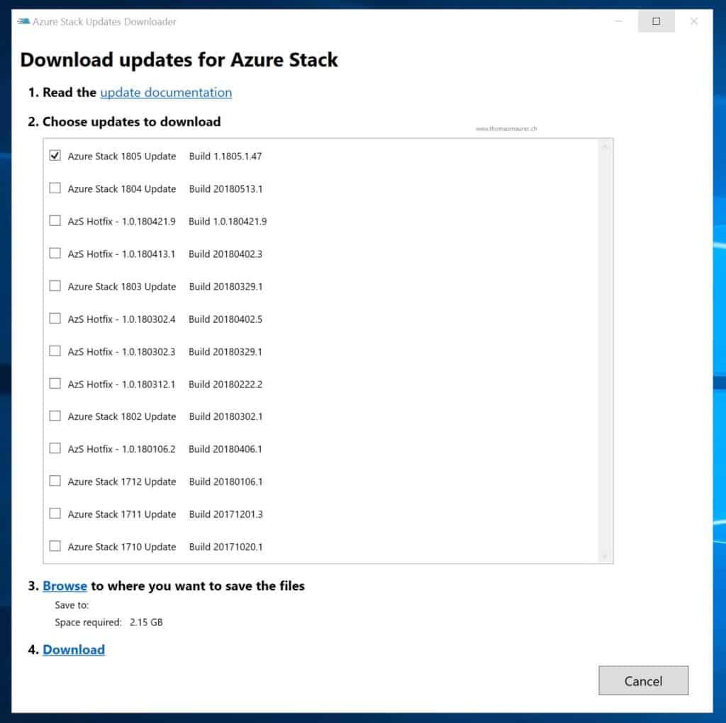 Azure Stack Updates Downloader