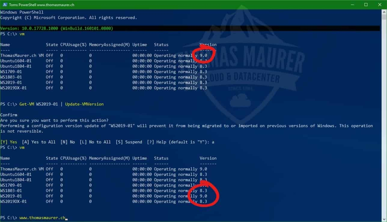 Windows Server 2019 and Windows 10 with new Hyper-V VM Version and