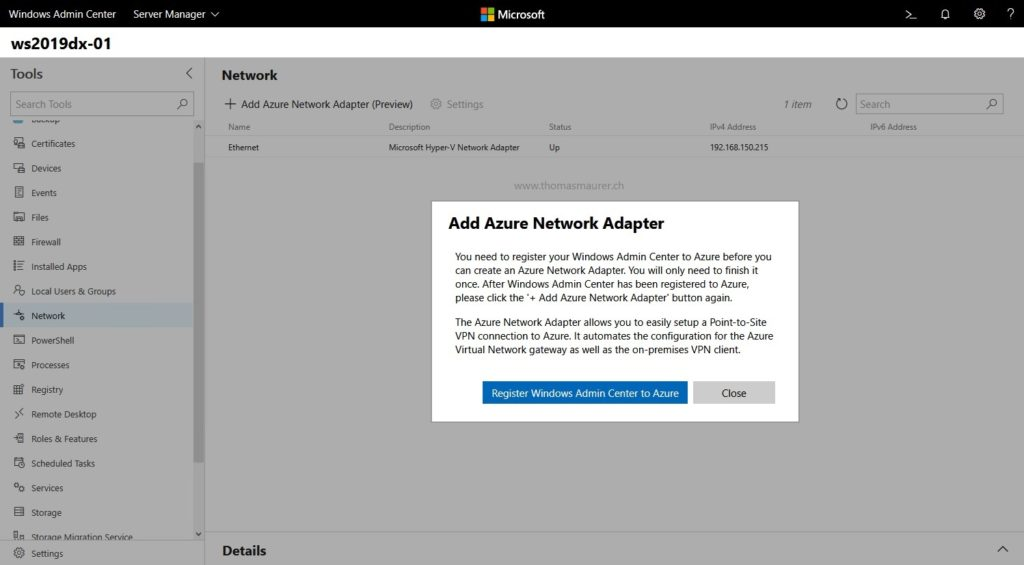 Add Azure Network Adapter