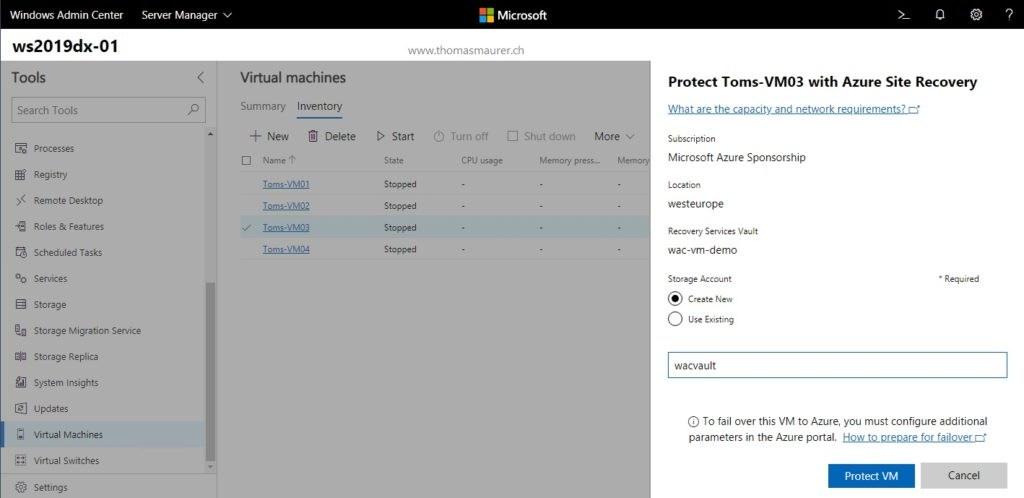 Protect VM with Azure Site Recovery ASR in WAC