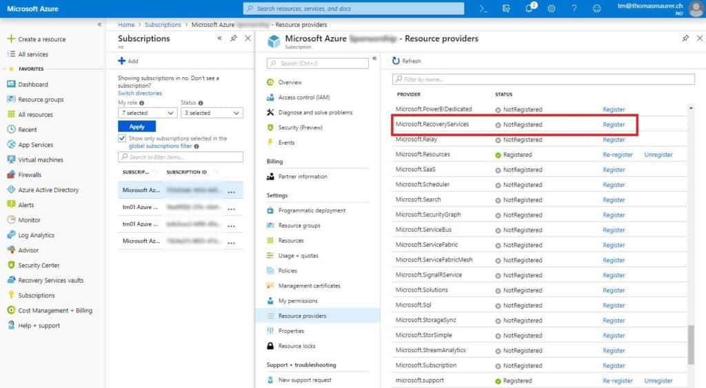 Register Azure Recovery Services Resource Provider