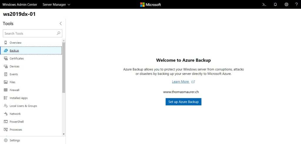 Windows Admin Center Azure Backup